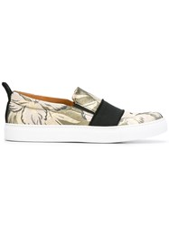 Christian Pellizzari Floral Jacquard Slip On Shoes Metallic