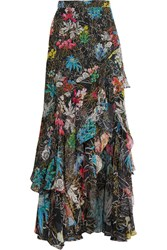 Peter Pilotto Tiered Ruffled Floral Print Silk Georgette Maxi Skirt Black