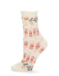 Free People Floral Ankle Socks Ivory Combo
