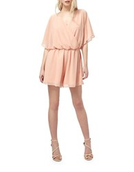 Miss Selfridge Lace Back Short Sleeve Playsuit Pink