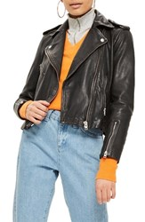 Topshop Strike Leather Biker Jacket Black