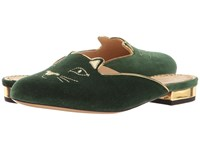 Charlotte Olympia Kitty Slipper Bottle Green Velvet Metallic Calfskin Women's Slippers
