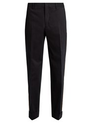 Gucci Side Stripe Brushed Cotton Gabardine Trousers Navy