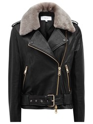 Reiss Dree Shearling And Leather Jacket Black Mink