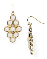 Lauren Ralph Lauren Hexagonal Chandelier Earrings Gold White