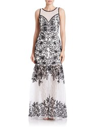 Sue Wong Beaded Lace Gown White Black
