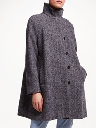 John Lewis Funnel Neck Swing Coat Navy Texture