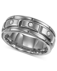 Triton Men's Titanium Ring Three Diamond Wedding Band 1 10 Ct. T.W.