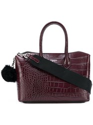 Tosca Blu Crocodile Embossed Tote Red