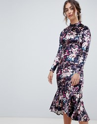 Hope And Ivy Long Sleeve Velvet Midi Dress With Peplum Hem In Floral Print Floral Print Multi