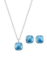 Swarovski Dot Necklace And Earrings Set Blue