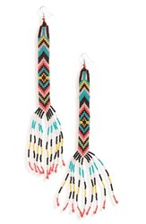 Topshop Women's Zigzag Beaded Drop Earrings Black Multi