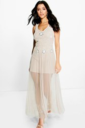 Boohoo Boutique Beaded Barely There Maxi Dress Nude