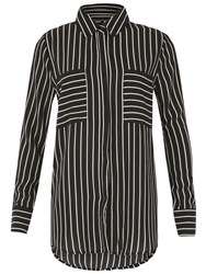Izabel London Monochrome Stripe Blouse Black