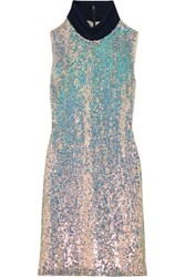 3.1 Phillip Lim Jersey Trimmed Sequined Silk Turtleneck Dress Silver