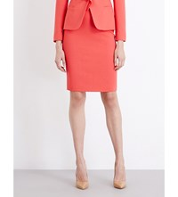 Max Mara Graz Stretch Wool Pencil Skirt Coral