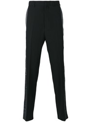 Lanvin Striped Tailored Trousers Black