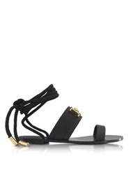 Versace Black Leather Ankle Wrap Sandals