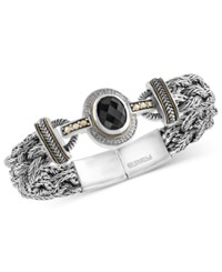 Effy Collection Eclipse By Effy Onyx 12 X 10Mm And Diamond 1 8 Ct. T.W. Braided Bracelet In Sterling Silver With 18K Gold Accents Black