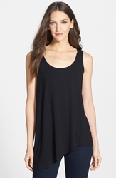 Eileen Fisher Asymmetrical U Neck Shell Black