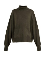 Raey Pocket Front Roll Neck Cashmere Sweater Khaki