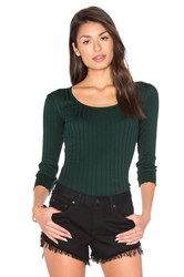 Rag And Bone The Rib Long Sleeve Top Dark Green