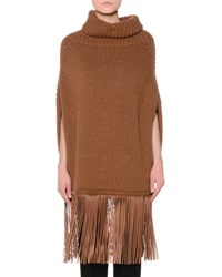 Agnona Cowl Neck Cashmere Poncho W Leather Fringe Tan