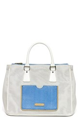 Hayden Harnett 'Busy Day' Leather Satchel White Cream Perf Multi