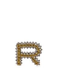 Rochas R Initial Crystal Embellished Brooch Yellow