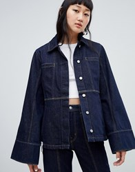Weekday Limited Collection Seamed Denim Coach Jacket Blue