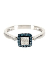 Allora Diamonds Sterling Silver Blue Diamond Accented Princess Cut White Diamond Ring 0.25 Ctw