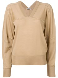 Bottega Veneta V Neck Jumper Neutrals