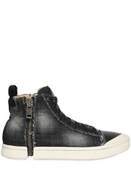 Diesel Cotton Denim And Leather High Top Sneakers
