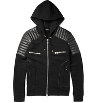 Balmain Leather Panelled Cotton Jersey Hoodie Black