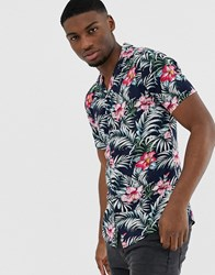Solid Slim Fit Shirt Revere Collar Floral Print Blue