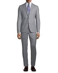 Neiman Marcus Modern Fit Two Piece Wool Suit Gray