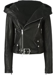 Unravel Hooded Biker Jacket Black