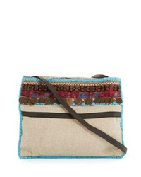 Ale By Alessandra Calista Beaded And Embellished Beach Crossbody Bag Beige