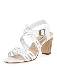 Manolo Blahnik Essa Leather Cutout Sandal White Women's Size 35.5B 5.5B
