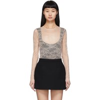 Red Valentino Beige Lace Long Sleeve Bodysuit