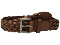 Coach 32Mm Woven Belt In Leather Gm Saddle Belts Brown
