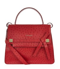 Escada Ab609 Ostrich Leather Handbag Female Red