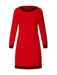 Hotsquash Swing Dress With Velvet In Clever Fabric Red