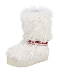 Ash Cool Moon Fur Mid Calf Boots Off White