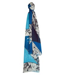 Jaeger Mixed Blues Cutabout Print Scarf Blue
