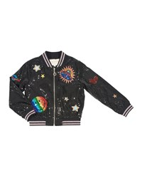 Hannah Banana Sequin Bomber Jacket W Space Patches Size 4 6X Black
