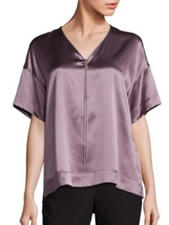 Lafayette 148 New York Caprice Silk Charmeuse Metallic Trim Blouse Soapstone