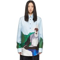 Etudes Studio Blue Silk Mountain Horse Shirt