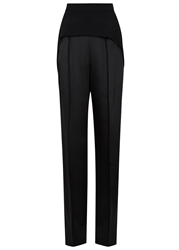 Sportmax Black Wide Leg Crepe And Satin Trousers