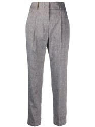 Peserico Textured Side Stud Tailored Trousers 60